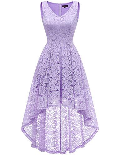 Bridesmay Women's Elegant V-Neck Vintage High Low Sleeveless Floral Lace Cocktail Party Swing Dress Lavender M