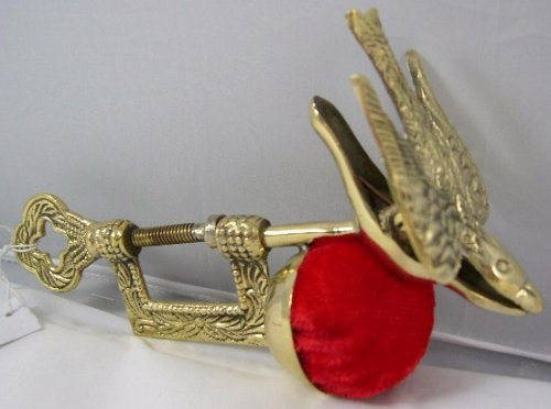 Antique Sewing (Solid Brass Replica Victorian Bird Sewing Clamp Pincushion by)