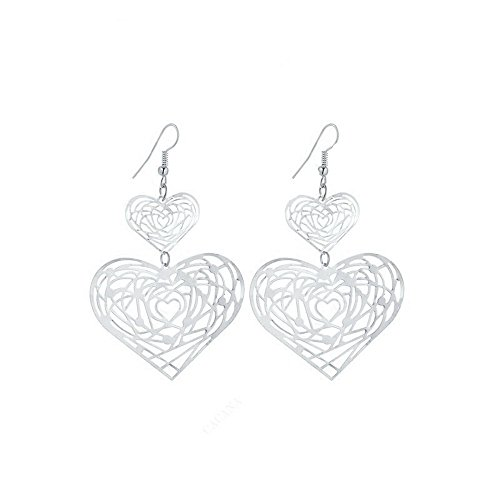 IDB Delicate Filigree Dangle Double Heart Drop Hook Earrings - Available in Silver and Gold Tones (Silver Tone)