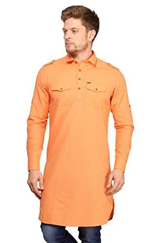 c84a487d02e22d mr.stag cotton men s light orange pathani style long kurta with pockets