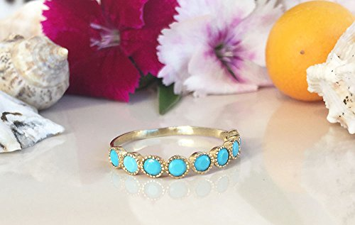 Turquoise Ring - Sleeping Beauty Turquoise - December Birthstone - Half Eternity Ring - Turquoise Jewelry - Bezel Ring