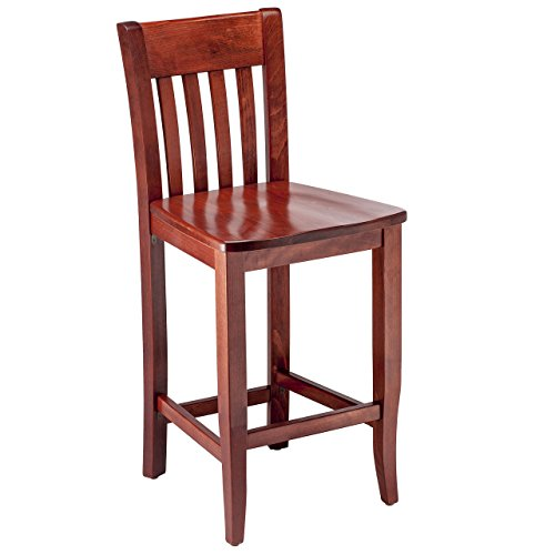 Beechwood Mountain BSD-34B24-M Solid Beech Wood Counter Stool in Mahogany for Kitchen Dining, NA