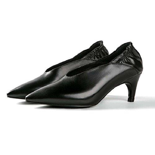 En GAOLIM Mujer De Mujer Zapatos Con Zapatos Botas Mujer Mujer Zapatos Bajo Fina Primavera Negro Con Punta Verdadera De Mujer De La SYYpw