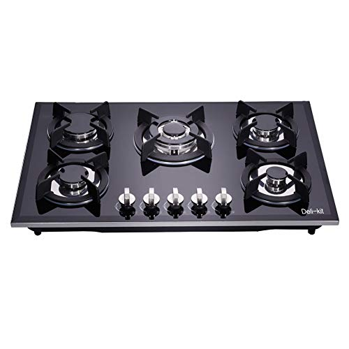 Deli-kit DK157-A01S 30 inch gas cooktop gas hob stovetop 5 Burners LPG/NG Dual Fuel 5 Sealed Burners Kitchen Tempered Glass Built-in gas hob 110V AC pulse ignition with cast iron support