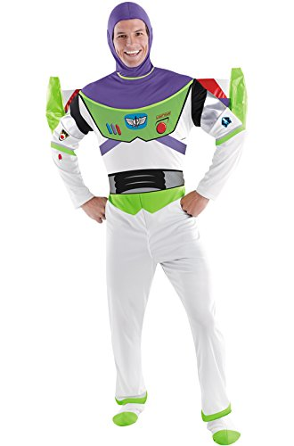 Buzz Lightyear Fancy Dress Adult (Disguise Toy Story Men's Buzz Lightyear Deluxe Adult,Multi,XL (42-46) Costume)
