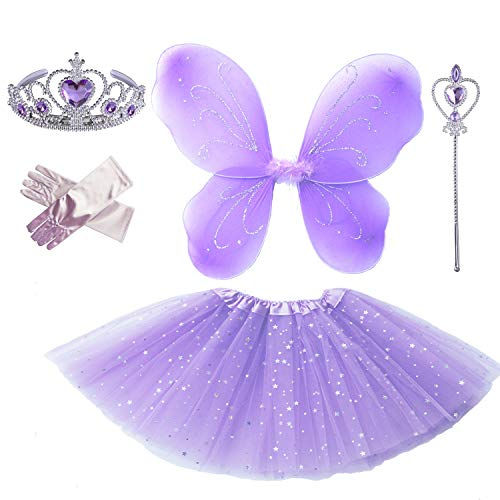 Little Girl's Pretend Princess Sofia Dress up Party Costume Accessories (Lavender Butterfly)]()