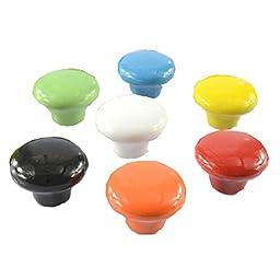 Set of 7 32mm Colorful Ceramic Cabinet Knob Drawer Pull Handle (7 Color)