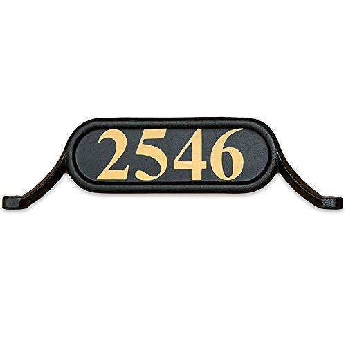 Plaque Mailbox (Addresses of Distinction Williamsburg Style 2 Address Plate - Contemporary Plaque for House Numbers - Rust Proof Aluminum Mailbox Topper - Mounting Hardware Included (Gold Reflective Vinyl Numbers))