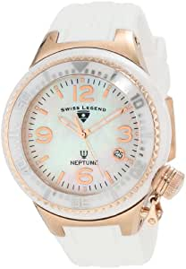 Swiss Legend Women's 11844-WWRA Neptune White Mother-Of-Pearl Dial Silicone Watch with Ceramic Case