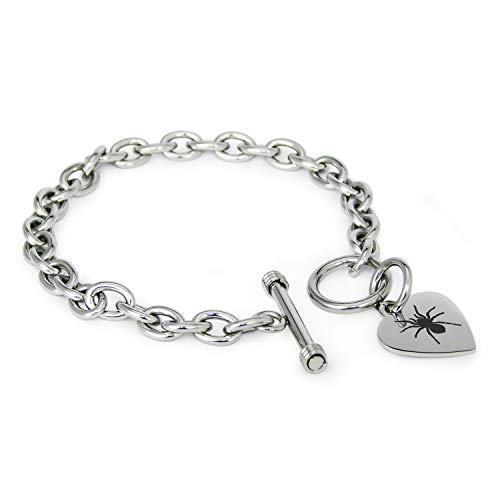 Stainless Steel Tarantula Spider Heart Charm Toggle, Bracelet Only