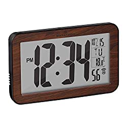 Marathon Commercial Grade Panoramic Atomic Wall Clock with Table Stand - Batteries Included - CL030033WD (Wood Grain Finish)