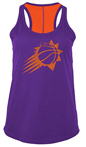 NBA Phoenix Suns Women's Baby Jersey Racer Back Tank with Contrasting Back Yoke, Medium, Purple