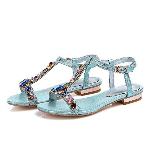 AmoonyFashion Womens Sheepskin Solid Buckle Open Toe Low-heels Sandals Blue xMqprPjfkd