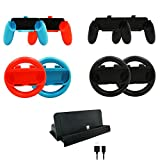 ElementDigital Switch Joy-Con Steering Wheel Grip Kit Wireless Racing Wheels Pair Hand Grip with Console Charging Dock Cradle Charger Cable for Nintendo Switch Controller