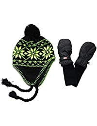 Nylon Mittens and Neon Knit Hat Sets