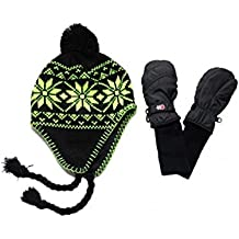 SnowStoppers Nylon Mittens and Neon Knit Hat Sets