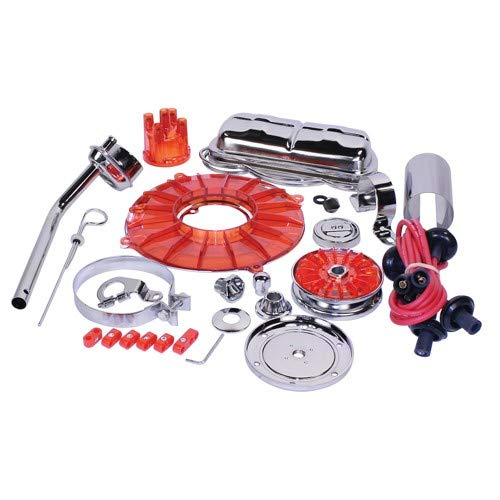 EMPI 8653 Super Chrome & Color 19 pc. Stock Style Deluxe Engine Kit - Red (Engine Chrome Dress)