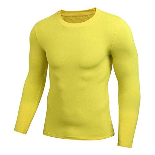 妻ダーベビルのテス証拠MJARTORIA 長袖 コンプレッションウェア スポーツシャツ ストレッチ アンダーウェア 機能性 吸汗速乾 トレーニング 運動用 Vネック 無地 加圧インナー メンズ (L, イエロー)