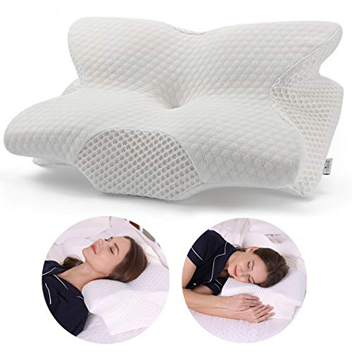 Coisum Back Sleeper Cervical Pillow - Memory Foam Pillow for Neck and Shoulder Pain Relief - Orthopedic Contour Ergonomic Pillow for Neck Support with Breathable Cover