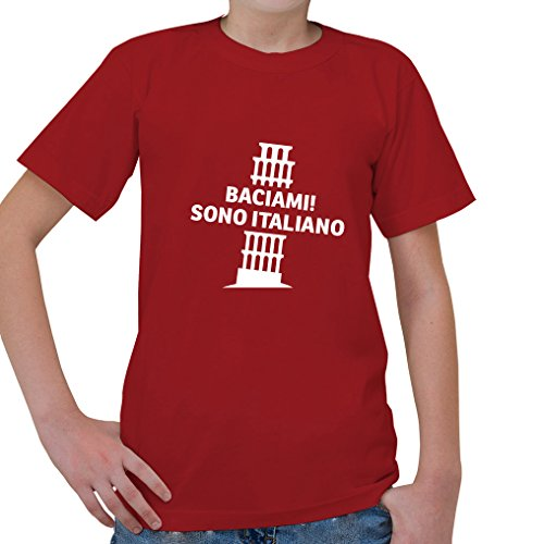 Price comparison product image BACIAMI! SONO ITALIANO Tower of Pisa Italian Italy Kids Short Sleeve T Shirt