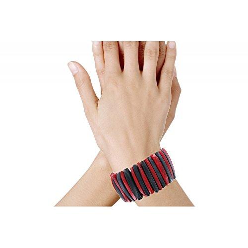 Les Poulettes Bijoux - Bracelet Lamelles de Tagua Rouge et Noire