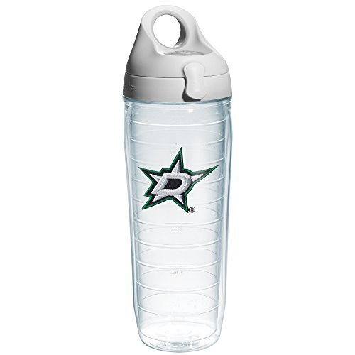 Tervis 1123733 'NHL Dallas Stars' Water Bottle with Grey Lid, Emblem, 24 oz, Clear by Tervis