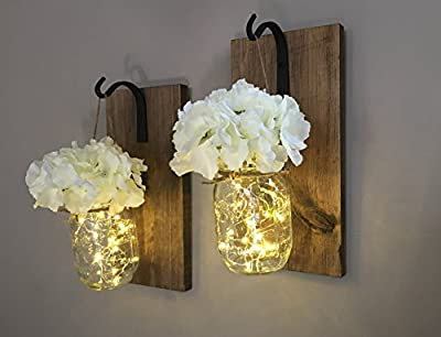 Rustic Hanging Mason Jar Sconces with LED Fairy Lights, Mason Jar Lights, Wrought Iron Hooks, Silk Hydrangea Flower, LED Strip Lights with Batteries Included, Rustic Home Decor Made in USA