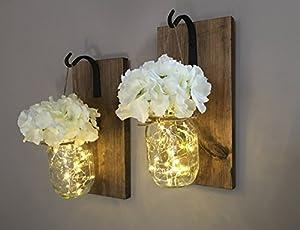 Amazon.com: Rustic Hanging Mason Jar Sconces with LED