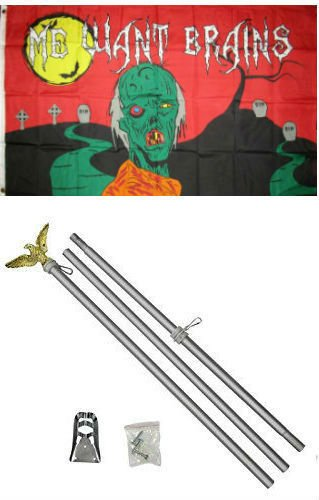 ALBATROS 3 ft x 5 ft Happy Halloween Zombie Wants Brains Flag Aluminum with Pole Kit Set for Home and Parades, Official Party, All Weather Indoors Outdoors