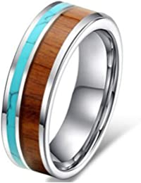 Womens 6mm Tungsten Ring Vintage Wedding Engagement Band With Koa Wood  Solid Turquoise Flat Top For