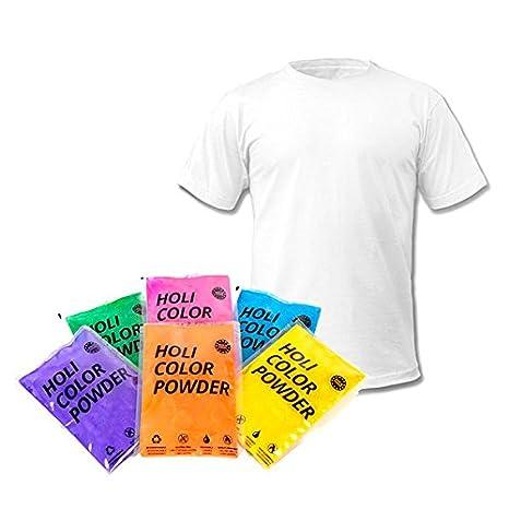Ohfx- Pack de 6 bolsas de polvo Holi, con camiseta, Color ...