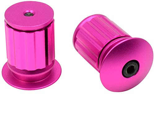 (Domain Cycling Aluminum Bike Handlebar Bar End Plugs, Expanding Adjustable Locking Caps, Road Bicycle Grip Mountain BMX MTB Fixie (Pink))