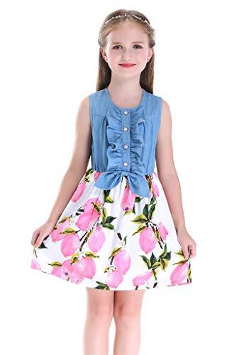 Happy Rose Little Girls Dress Jeans Pink Lemon Print Sleeveless Skirt Dresses -