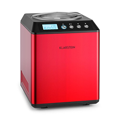 Klarstein Vanilla Sky Eiscreme-Maschine Eisbereiter Kompressor Eismaschine inkl. Portionierlöffel und Messbecher (2 Liter große Eisbehälter, 180W Kühlkompressor, Start/Stopp-Taste, Eiscreme in 30-40 Minuten, Korpus aus Edelstahl, Digital-Display) rot