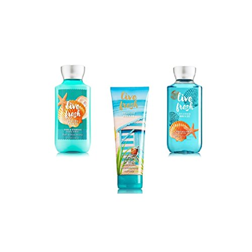 Bundle Pack Bath Body Works LIVE FRESH - SEASIDE BREEZE Body Lotion, Body Cream & Shower Gel TRIO Pack