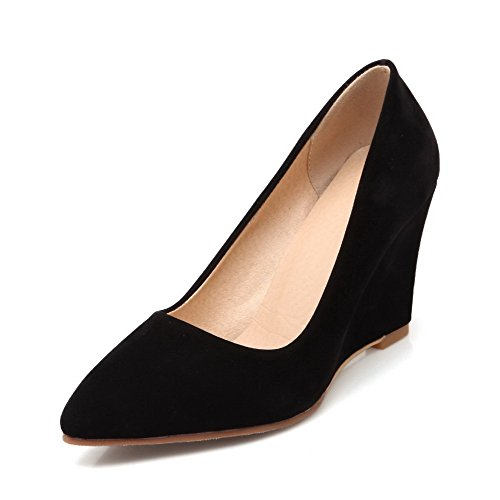 Odomolor Women's Solid Flock High-Heels Pointed Closed Toe Pull-on Pumps-Shoes Black MTRGZ