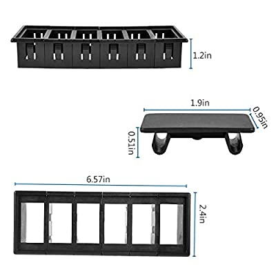 AutoEC Rocker Switch Panel Switch Holder Housing Kit - Black Plastic (PACK OF 6): Automotive