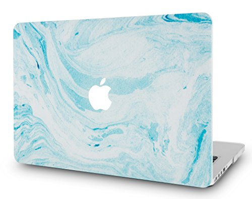 LuvCase Rubberized Plastic Hard Shell Case Cover Compatible MacBook Air 13 Inch A1466 / A1369 (No Touch ID) (Blue White Marble 1)