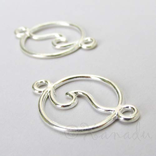 Pendant Jewelry Making Ocean Wave Charms 28mm Silver Plated Connector - Silver Hole Connector 2