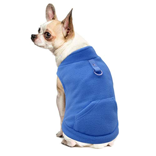 EXPAWLORER Fleece Autumn Winter Cold Weather Dog Vest Harness Clothes with Pocket, Blue Small