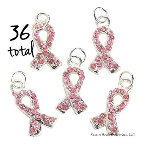 Aware Pink Ribbon - 36 PINK RIBBON BREAST CANCER AWARENESS RHINESTONE CHARM- Good Quality Charms