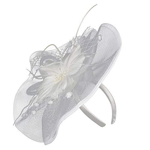 UROSA Women Girl Fascinators Hair Clip Hairpin Hat Feather Cocktail Wedding Tea Party Headwear White