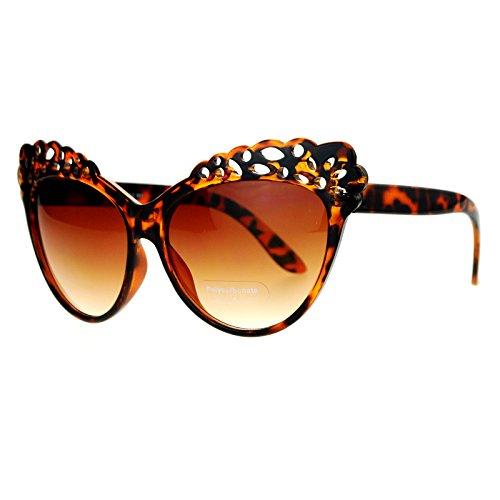 SA106 Floral Lace Cat Eye Womens Retro Diva Sunglasses - Cat Sunglasses Eye Floral