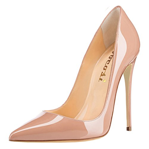 Image of VOCOSI Women's Sexy Point Toe High Heels,Patent Leather Pumps,Wedding Dress Shoes,Cute Evening Stilettos Nude 7 US