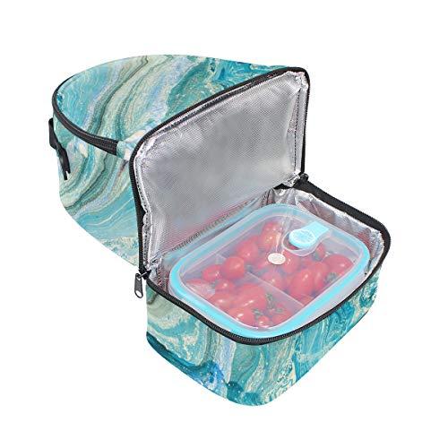 de tinta almuerzo picnic con abstracta y de doble textura de ajustable color Bolso para de correa azul mármol HPRx4qnvw