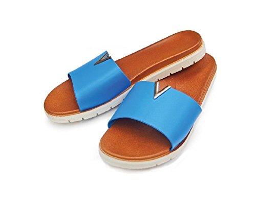 Diny Hem & Stil Damer Kvinna Konstläder Glid Sandaler Blå