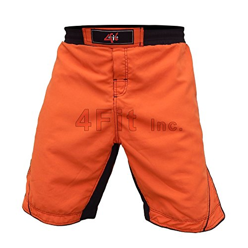 4FIT Pro MMA Fight Shorts UFC Cage Fight Grappling, Muay Thai Boxing Orange XS-3XL