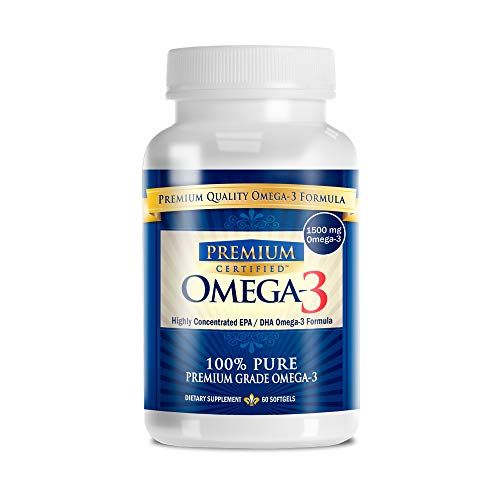 Omega-3 Premium: Pharmaceutical Grade Omega3 Fish Oil - 800mg EPA & 600mg DHA - No Aftertaste - 60 Capsules - 1 Month Supply - The #1 Health Supplement