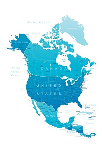 Detailed Map of North America United States Canada Mexico Reference Art Print Mural Giant Poster 36x54 inch