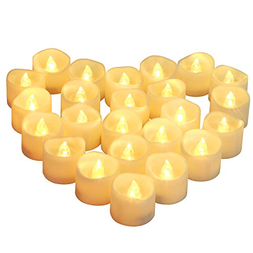 Homemory Set of 24 Timed Tealight Candles, Battery Operated Tea Candles, Flameless Flickering Electric Candles with Timer for Table Centerpieces, Mood Lighting and Home Decor, Warm Yellow Light (Timers With Tea Lights)